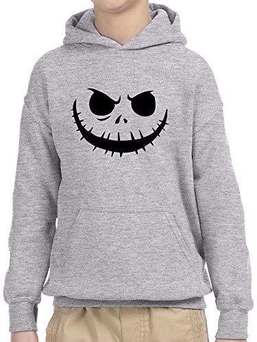 New Way 971 - Youth Hoodie Jack Skellington Pumpkin Face Scary Unisex Pullover Sweatshirt Large Heather Grey -