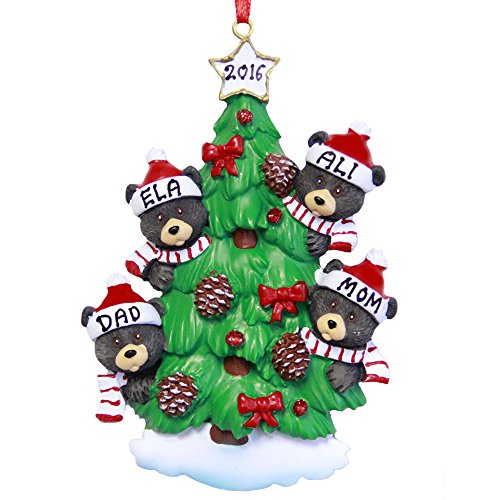 Family of 4 Bear on Tree Personalized Christmas Ornament - Free Customization