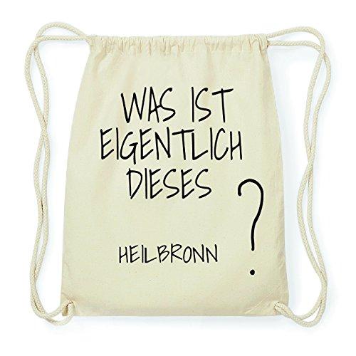 JOllify HEILBRONN Hipster Turnbeutel Tasche Rucksack aus Baumwolle - Farbe: natur Design: Was ist eigentlich