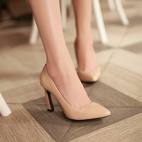 Latasa Mode Féminine En Cuir Verni Bout Pointu Robe À Talons Hauts Chaussures Chaussures Abricot