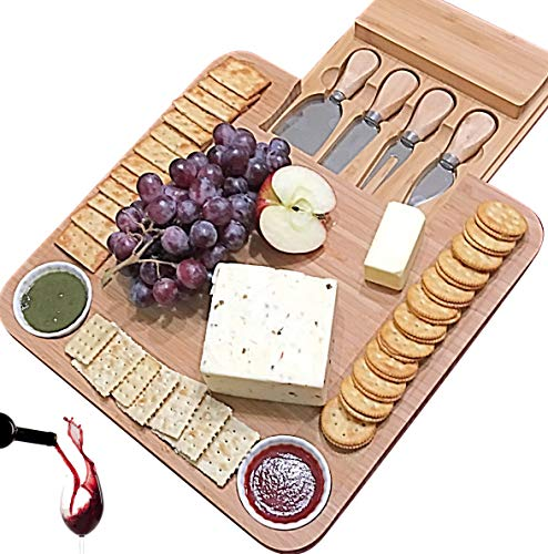 Cheese Board with Cutlery Set, Wooden Bamboo Charcuterie Platter & Serving Meat Board with Slide-Out Drawer, 4 Stainless Steel Knife and Server Set, gifts for Housewarming, Wedding, Father's -