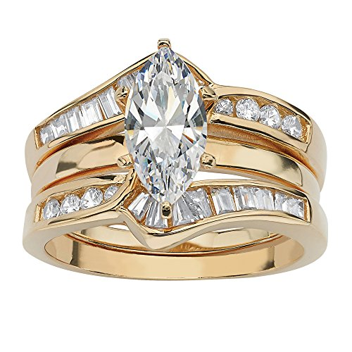 Marquise-Cut White Cubic Zirconia 18k Gold over .925 Sterling Silver 2-Piece Jacket Bridal Set Size 6
