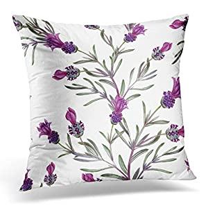 UPOOS Throw Pillow Cover French Lavender Oil in Watercolor Essential Bottles and Botanical of Movie Fabrics and Other Objects White Decorative Pillow Case Home Decor Square 18x18 Inches Pillowcase