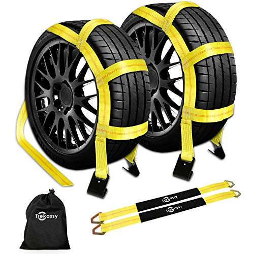 Trekassy Wheel Net Car Tow Dolly Straps with Flat Hooks 2 Pack Heavy Duty for 14-17 Tires Include 2 Axle Straps and 1 Carrying Bag