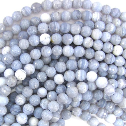 ShopForAllYou Design Beads Faceted Blue Lace Agate Round Beads 15.5