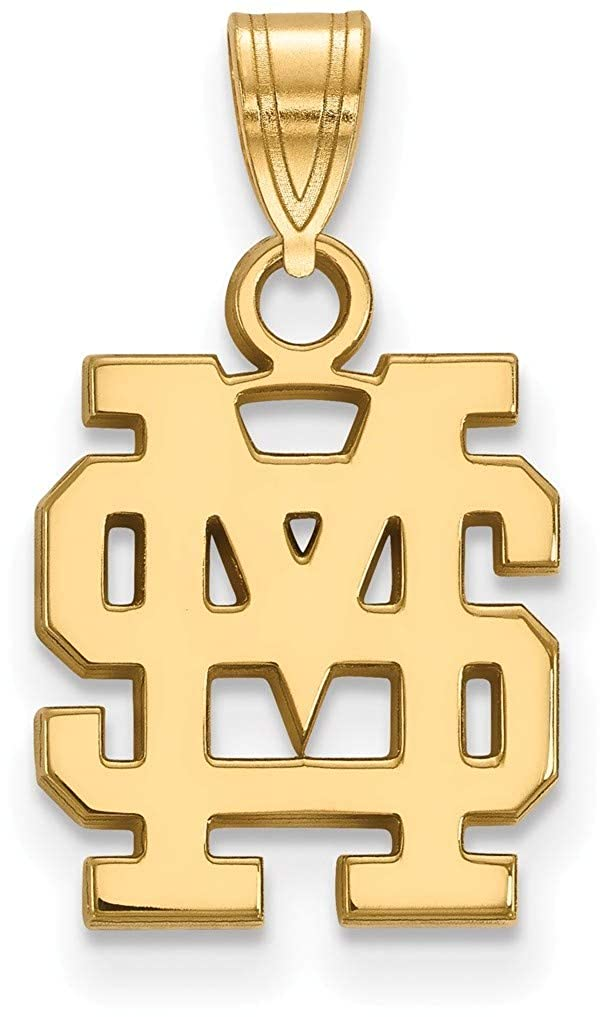 Gold-Plated 925 Silver Mississippi State University Sm LogoArt Pendant GP063MSS