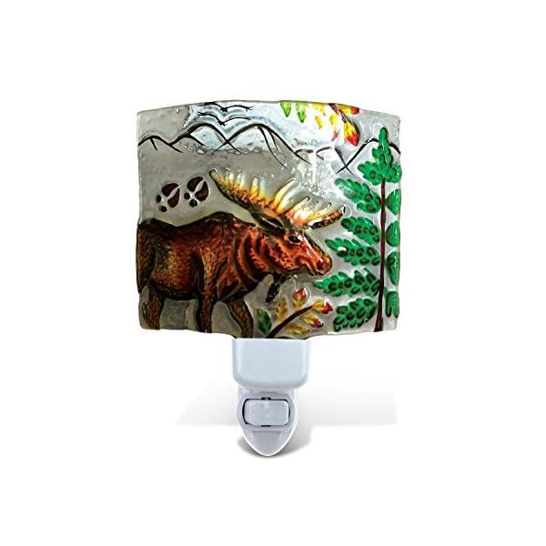 Puzzled Elk Moose Night Light, Glass Art Plug in Energy Efficient Decorative Socket Lamp Manual On & Off Portable Lights Stairway Hallway Bedroom Bathroom Nursery Kids Accessory Home & Kitchen Decor