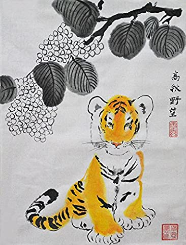 Oridental Artwork Unframed Hand Painted Art Chinese Brush Ink and Wash Watercolor Painting Drawing Picture on Rice Paper Tiger Decorations Decor for Office Living Room - Painting Hand Brush