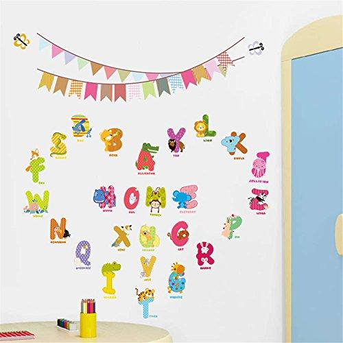 Abc Alphabet Wall Border (BIBITIME 26 Alphabet Wall Art Animals English Letter Vinyl Stickers Butterflies Colorful Flag Decor Decal for Classroom Nursery Kids Room Education Quotes DIY PVC Decorations)
