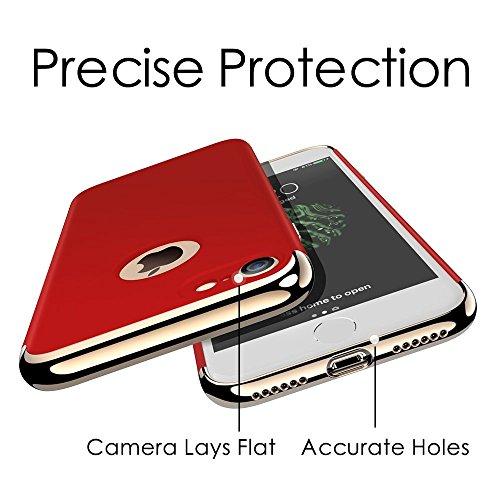 Custodia iPhone 6, 360 Gradi della copertura completa 3 in 1 Hard PC Case Cover Stilosa Protettiva Bumper Antiurto Antigraffio Posteriore Copertura per iPhone 6s (iPhone 6s, Red)