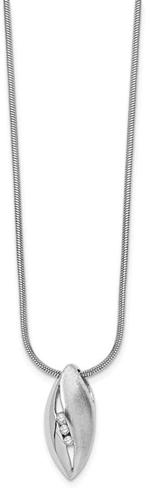 18 Inch 925 Sterling Silver Gift Boxed Rhodium-plated Polished and satin Lobster Claw Closure White Ice Diamond Necklace