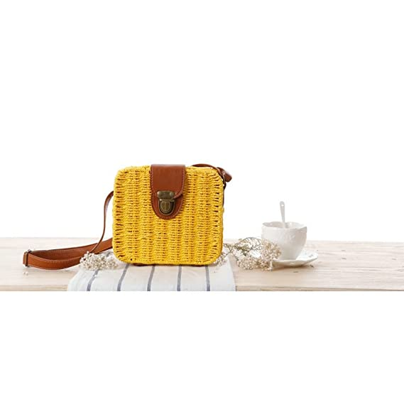 Mujeres Paja Tejer Bolsa Crochet Crossbody Bolsa Bolsa de hombro Messenger Carteras Playa Bolso de mano: Amazon.es: Equipaje