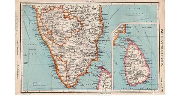 Amazon Com India South Ceylon Sri Lanka Mysore Madras Chennai Kochi 1952 Old Map Antique Map Vintage Map Printed Maps Of India Posters Prints