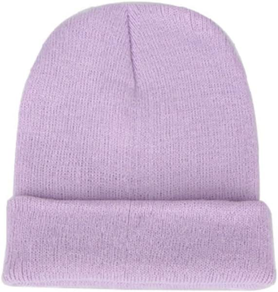 MnoMINI Bonnet unisexe en tricot de couleur unie chaude en laine pour le ski et le cyclisme