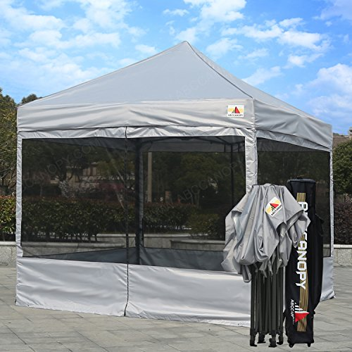 ABCCANOPY 10×10 Ez Pop up Canopy Party Tent With Netting COMMERCIAL Instant Gazebo With Screen Walls (Gray)