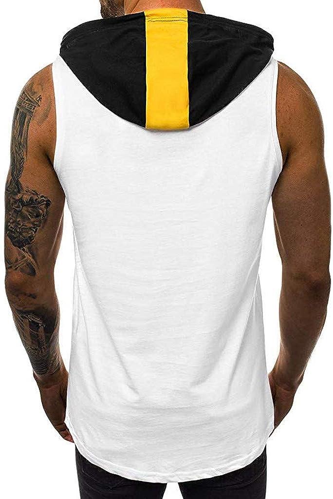 Men Tank Top Hoodie Summer Fashion Sleeveless Sport Letter Print Cotton Blouse Top Vest