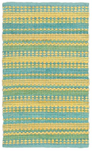 Trade AM Cotton Dhurry Striped Area Rug, 7-Feet 9-Inch by 9-Feet 9-Inch, Blue/Yellow (Lr Resources Shapes)