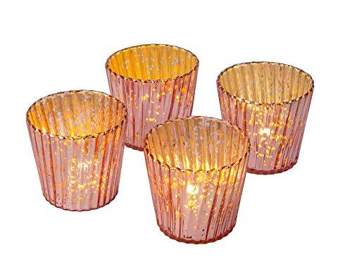 Design Candle Holder Set - Luna Bazaar Vintage Mercury Glass Candle Holders (3-Inch, Caroline Design, Rose Gold, Set of 4) - for Use with Tea Lights - for Parties, Weddings, and Homes - Mercury Glass Votive Holders