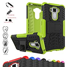 Zenfone 3 Laser ZC551KL Case,Mama Mouth Shockproof Heavy Duty Combo Hybrid Rugged Dual Layer Grip Cover with Kickstand For ASUS Zenfone 3 Laser ZC551KL(With 4 in 1 Free Gift Packaged),Green