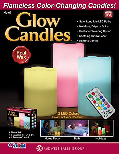 Glow Candles Flameless Color Changing Pillars (Set of 3) | As Seen On TV | Made from Real Wax
