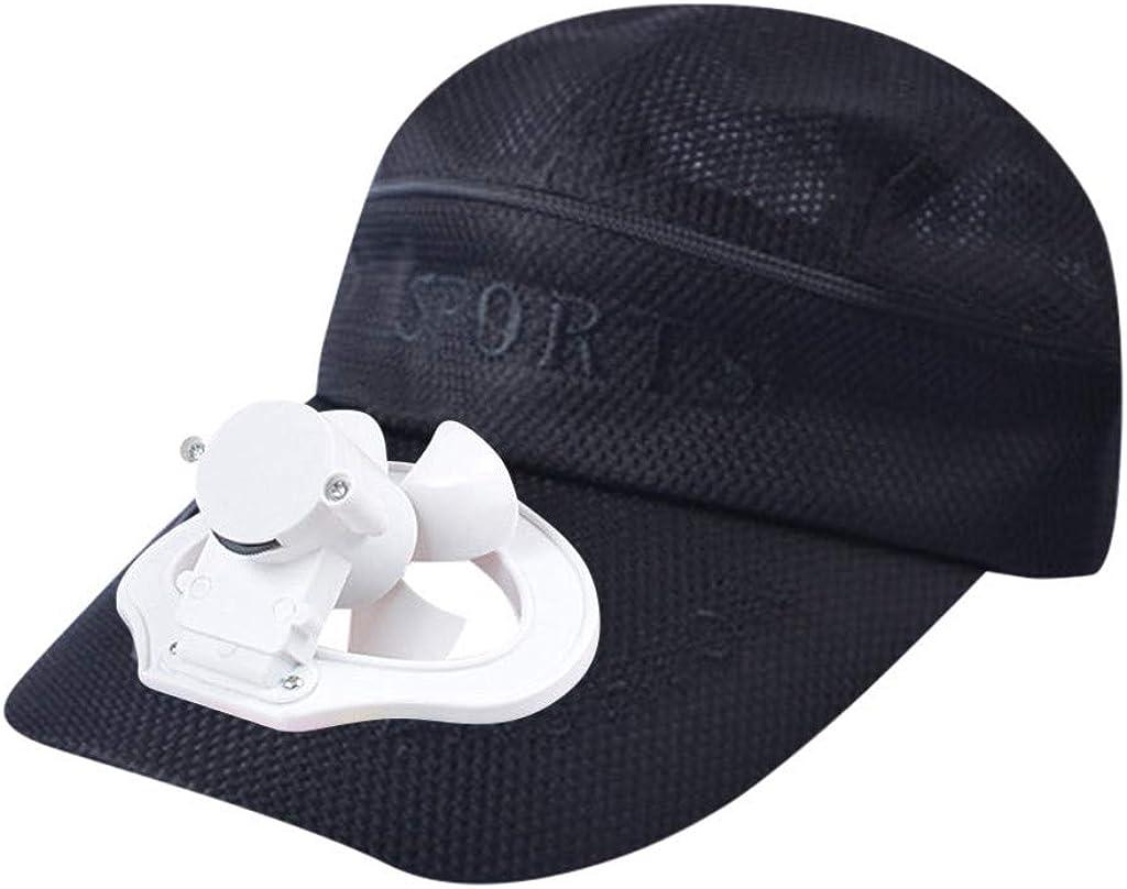 Gorra de béisbol para Hombre y Mujer, Color sólido, Transpirable, para Hacer Senderismo, con Carga USB, para el Verano o para Hacer Deporte, con Ventilador de refrigeración