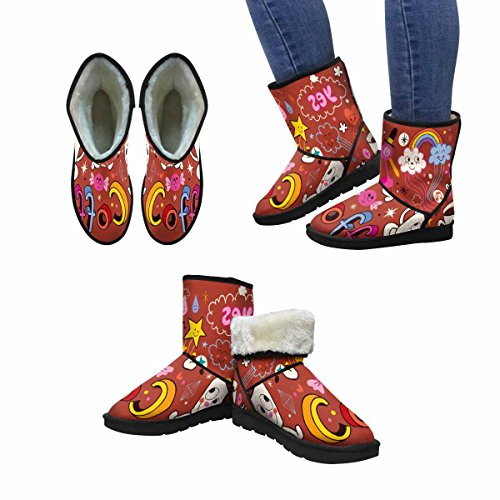 InterestPrint Womens Snow Boots Coffee Cartoon Unique Designed Comfort Winter Boots Multi 1 oGhtL59CY7