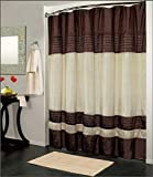 Brown Curtains Kashi Home Ibiza Shower Curtain 70x72, Brown Ivory