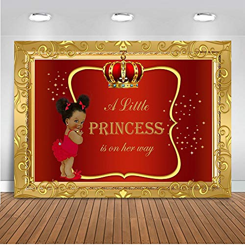 - Mehofoto Royal Baby Shower Backdrop Little Girl Princess Red Gold Photography Background 7x5ft Vinyl Royal Baby Shower Party Banner Backdrops