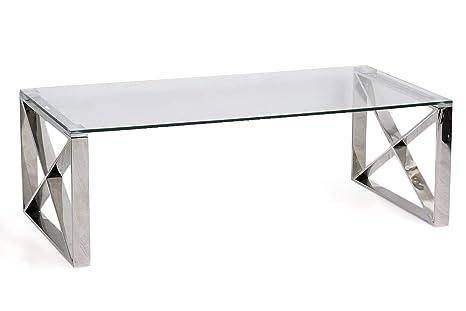 PEÑA VARGAS - Wedecore - Mesas de Centro Modernas - Mesa Cristal/Acero Plata (120x60)