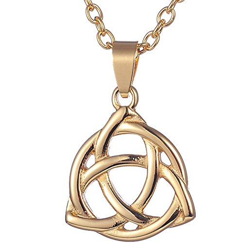 Stainless Steel Celtic Love Knot Pendant Necklace (Gold)