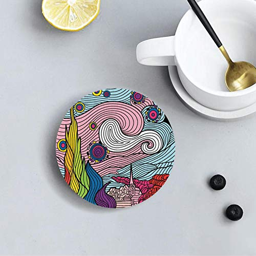 Round Coasters for Drinks Man Cave House Warming Presents Decor Suitable for Kinds Of Mugs and Cups,Set Of 1