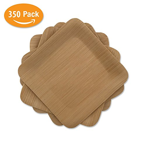 "Bamboo Mini Appetizer Plates Disposable | 350 Pack of 3.5"" Square 