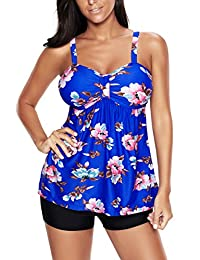 Papaya Wear Womens Vintage Floral Tankinis Modest Retro Swim Top and Boardshort