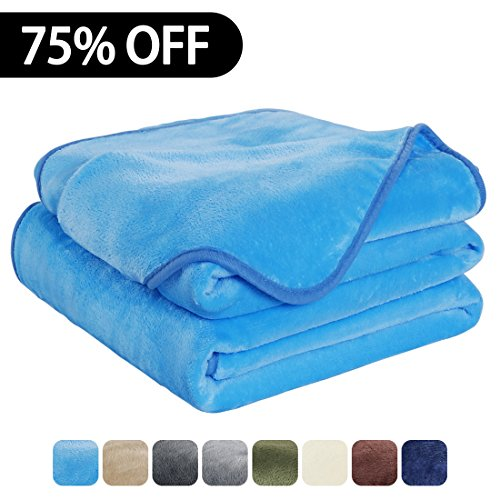Luxury Fleece Super Soft Thermal Blanket Warm Fuzzy Microplush Lightweight Blankets for Bed Sofa, Seashell Series,Throw,50 by 61 Inches,Sky Blue