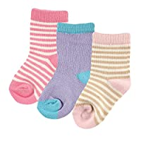 Hudson Baby Touched By Nature Organic Socks 3 Pack, Blue, 0-6 Months