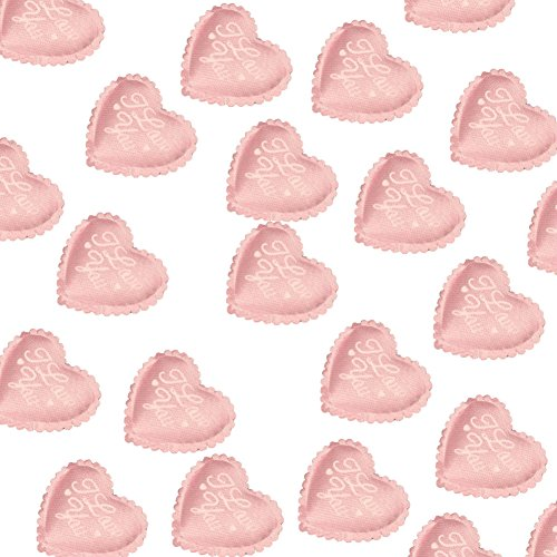 AKOAK 100 Pieces 3.5CM Love Heart Shaped Sponge Petal - I Love You Heart Applique for Wedding Decorative Handmade DIY Petals Birthday Table Party Supplies Confetti(Pink)