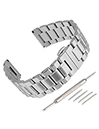 Beauty7 14mm Silver Butterfly Clasp Stainless Steel Link Wrist Bracelet Strap Replacement Watch Band Kit