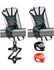"""APzek Bike Phone Mount, 2 Pack Rotatable Silicone Bicycle Phone Holder for 4.0""""-6.5"""" Phones with 1 Pack Bike Water Bottle Holder Cages, 1 Pack Bicycle Front Light and 1 Pack Bike Rear Light (5 Pack)"""