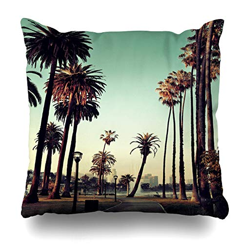 AileenREE Throw Pillow Covers Los City Angeles Downtown Park View Tropical Palm Trees California Urban Cityscape Day Pillowcase Square Size 16 x 16 Inches Home Decor Cushion Cases