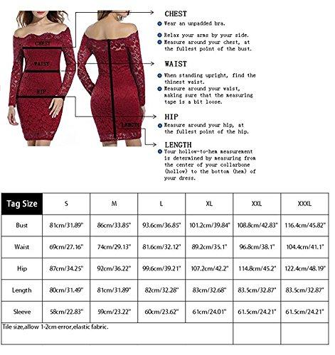 Bodycon Noche BLZ Larga Vestidos Manga Encaje Mujer de para de Invierno Vino Ajustado Mini Lápiz Fiesta Hombros de Slim Cóctel Otoño Rojo Sin y Dodas Vestido rzCarqw