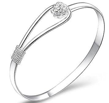 5a082f350ede Plateado mujeres de la joyería 925 pulseras de cadena de plata esterlina de plata  sólida de pulsera de moda Cuff (rose)  Amazon.es  Jardín