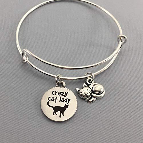 Crazy Cat Lady Adjustable Charm Bracelet Pet Lover Gift for Women