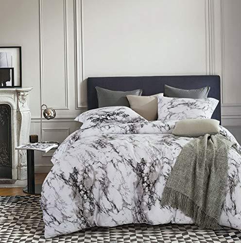 Hemau Premium New Soft - Marble Comforter Set, Gray Grey Black and White Pattern Printed, Soft Microfiber Bedding (3pcs, King Size) | Style -