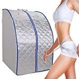 Ridgeyard Foldable FIR Far Infrared Portable Indoor Sliver Sauna Spa+ Negative Ion Detox + Wired Remote Control with Folding Chair and Heating Footpad