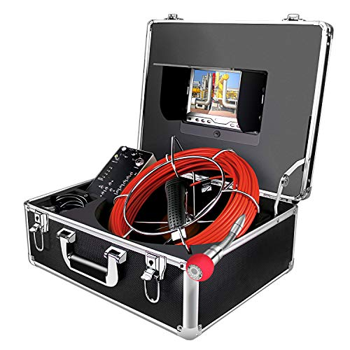 """Sewer Camera,Inspection Camera 100ft/30M Cable with Distance Counter Industrial Endoscope DVR Video Record 7"""" TFT Monitor 1000TVL Sony CCD Duct HVAC Borescope Waterproof IP68 Camera (7D1-30M-DVR-DC) from Aukfa"""