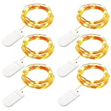 Ouniman 6 Pcs LED String Lights Battery Operated, Fairy String Light for Home, Party, Christmas, Wedding, Garden Decoration - Yellow
