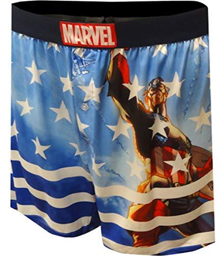 Captain America Performance Fabric Boxer Shorts For Men ()