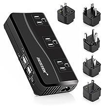 BESTEK Power Converter 220V to 110V 3-Outlet and 4-Port USB Travel Voltage Transformer with Type G/D/M/EU/AU/US Travel Plug Adapters,200W