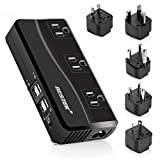 BESTEK Power Converter 220V to 110V 3-Outlet and 4-Port USB Travel Voltage Transformer
