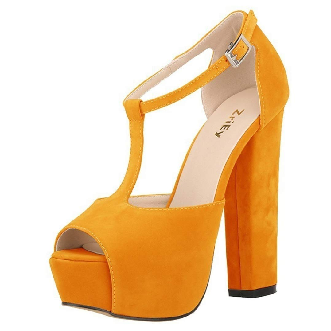 orange Women Summer Sexy Peep Toe Buckle Simple Fish Mouth Sandals Fashion Thick Heels Platform Pumps Wedding shoes